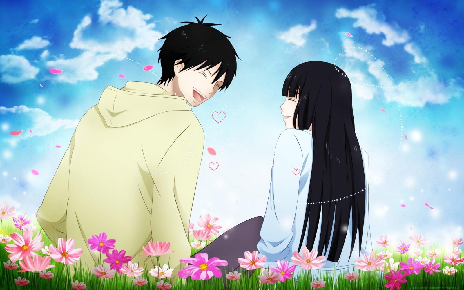 Kimi_ni_Todoke_Kazehaya_Shouta_Kuronuma_Sawako_flowers_anime_anime_boys_anime_girls_love